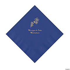 Purple Blossom Branch Personalized Napkins with Gold Foil - Luncheon