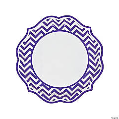 Purple Chevron Scalloped Paper Dinner Plates