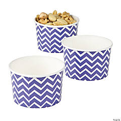 Purple Chevron Snack Paper Bowls