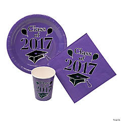 Purple Class of 2017 Graduation Party Tableware Set