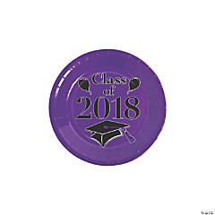 Purple Class of 2018 Grad Party Dessert Paper Plates
