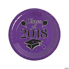 Purple Class of 2018 Grad Party Dinner Paper Plates