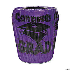Purple Congrats Grad Graduation Plastic Trash Can Cover
