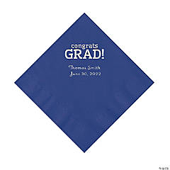 Purple Congrats Grad Personalized Napkins with Silver Foil - Luncheon
