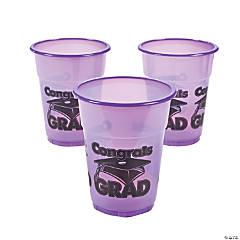 """Purple """"Congrats Grad"""" Plastic Cups"""