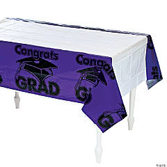 Purple Congrats Grad Plastic Tablecloth