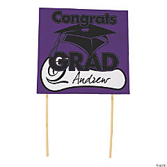 "Purple ""Congrats Grad"" Yard Signs"