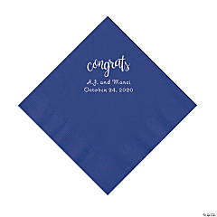 Purple Congrats Personalized Napkins with Silver Foil - Luncheon