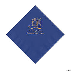 Purple Cowboy Boots Personalized Napkins with Gold Foil - Luncheon