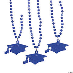 Purple #1 Grad Mortar Board Bead Necklaces