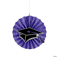 Purple Graduation Hanging Fans with Icons