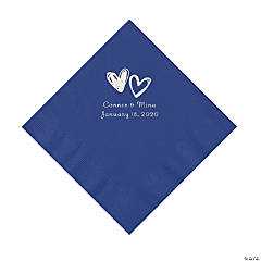 Purple Hearts Personalized Napkins with Silver Foil - Luncheon