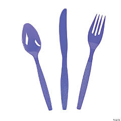 Purple High Count Plastic Cutlery Sets