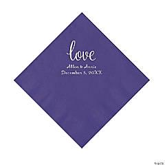 Purple Love Script Personalized Napkins with Silver Foil - Luncheon