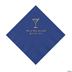 Purple Martini Glass Personalized Napkins with Gold Foil - Luncheon