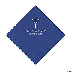 Purple Martini Glass Personalized Napkins with Silver Foil - Luncheon