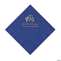 Purple Miss to Mrs. Personalized Napkins with Gold Foil - Luncheon