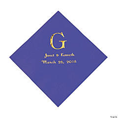 Purple Monogram Wedding Personalized Napkins with Gold Foil - Luncheon