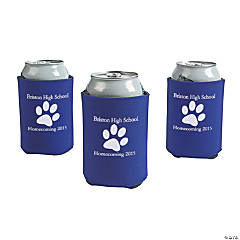 Purple Personalized Paw Print Can Coolers