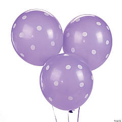 "Purple Polka Dot 11"" Latex Balloons"