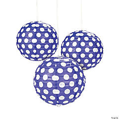 Purple Polka Dot Hanging Paper Lanterns