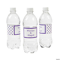Purple Polka Dot Personalized Water Bottle Labels