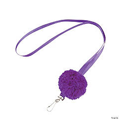 Purple Pom-Pom Lanyards
