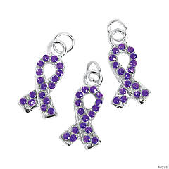 Purple Rhinestone Ribbon Charms - 1/2