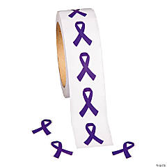 Purple Ribbon Awareness Roll of Stickers