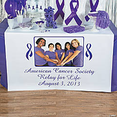 Purple Ribbon Custom Photo Table Runner