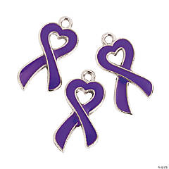Purple Ribbon Enamel Charms - 20mm