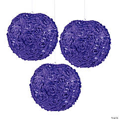 Purple Rosette Hanging Lanterns