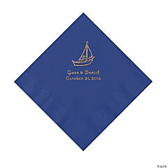 Purple Sailboat Personalized Napkins with Gold Foil - Luncheon