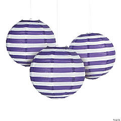 Purple Striped Hanging Paper Lanterns