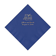 Purple The Adventure Begins Personalized Napkins with Gold Foil - Luncheon
