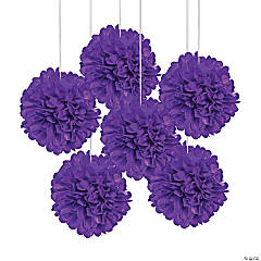 Purple Tissue Paper Pom-Pom Decorations