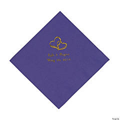 Purple Two Hearts Personalized Napkins with Gold Foil - Luncheon