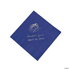 Purple Wedding Bell Personalized Napkins with Silver Foil - Beverage