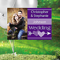 Purple Wedding Custom Photo Yard Sign
