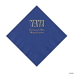 Purple Yay Personalized Napkins with Gold Foil - Luncheon