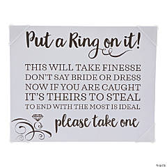 Put a Ring on It Bridal Shower Game Instructions Sign