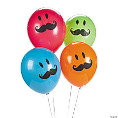 Qualatex® Smile Face Mustache Latex Balloons
