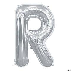 R Silver Letter Mylar Balloon