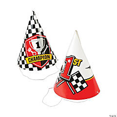 Race Car Party Cone Hats Assortment