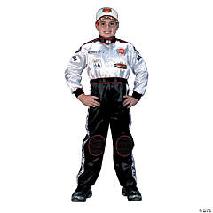 Racing Suit Black & White Kid's Costume