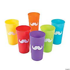 Rainbow Mustache Plastic Tumblers
