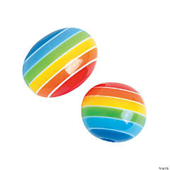 Rainbow Oval & Round Beads  - 8-12mm