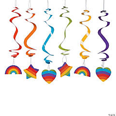 Rainbow Party Hanging Swirls