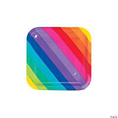 Rainbow Square Paper Dessert Plates