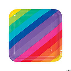 Rainbow Square Paper Dinner Plates